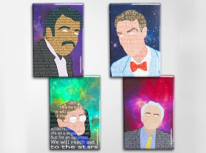 Famous Scientists Art Magnet Set